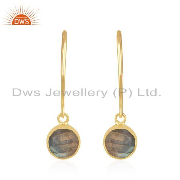 Labradorite Gemstone Yellow Gold Plated 925 Silver Womens Earring Wholesale