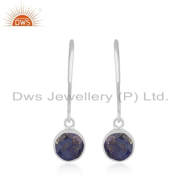 Lapis Lazuli Gemstone 925 Sterling Silver Handmade Earring Jewelry In Jaipur
