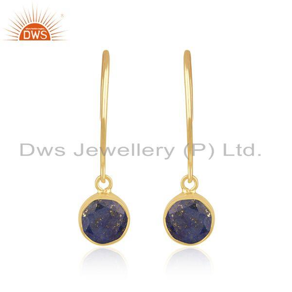 Natural Lapis Lazuli Gemstone Yellow Gold Plated 925 Silver Earring Manufacturer