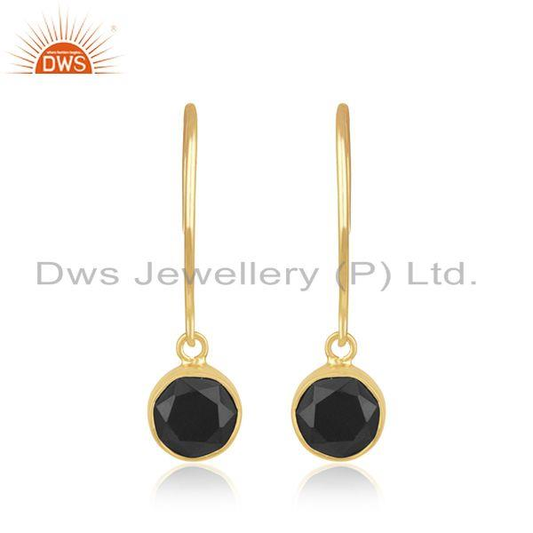 Black Onyx Gemstone 925 Silver Yellow Gold Plated Earrings For Girls Jewelry