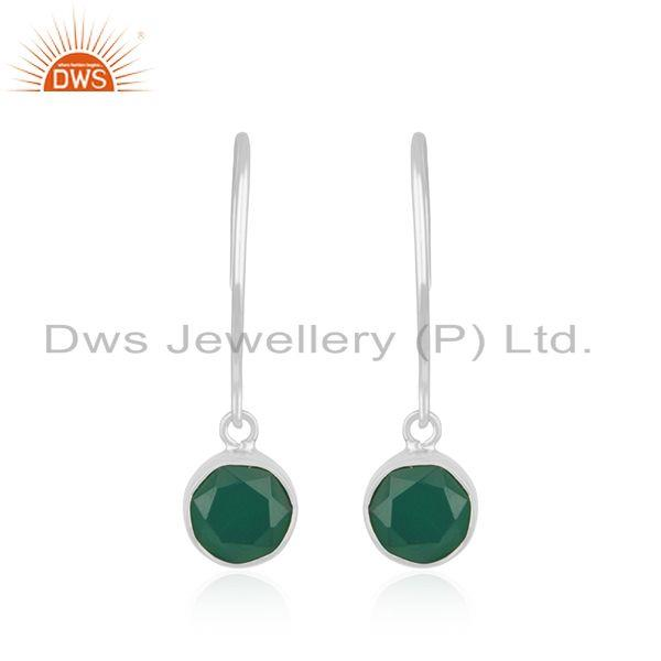 Green Onyx Gemstone Sterling Silver Handmade Earring Manufacturer India
