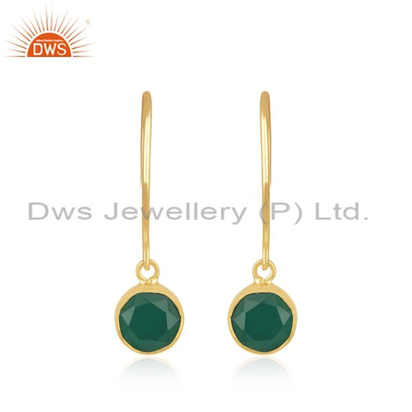 Green Onyx Gemstone Sterling Silver Gold Plated Earrings Jewelry for Womens