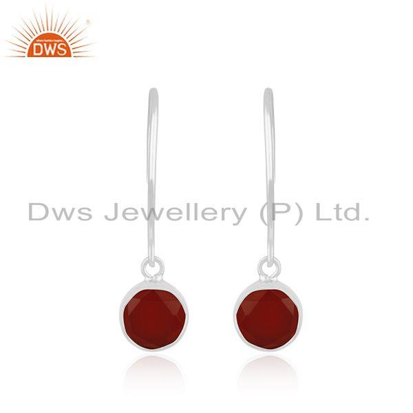 Handmade Fine Sterling 92.5 Silver Mark Red Onyx Gemstone Earring Wholesale