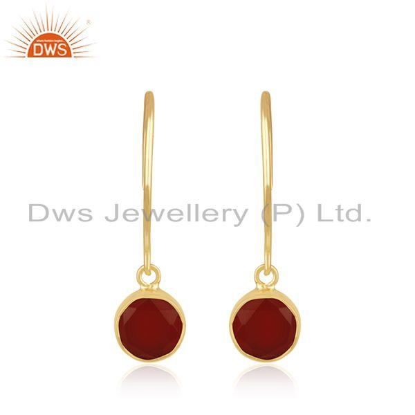 Red Onyx Gemstone Sterling Silver Gold Plated Simple Earring Manufacturer Jaipur