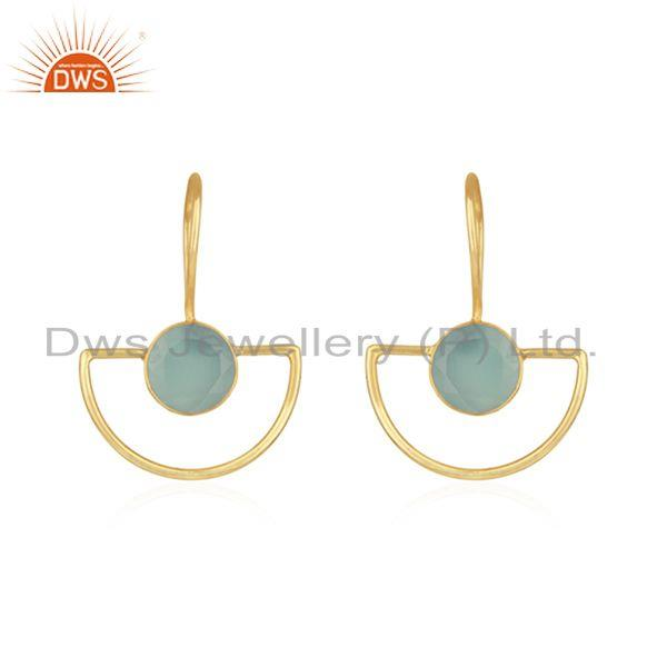 Aqua Chalcedony Gemstone Gold Plated 925 Silver Earring Manufacturer India