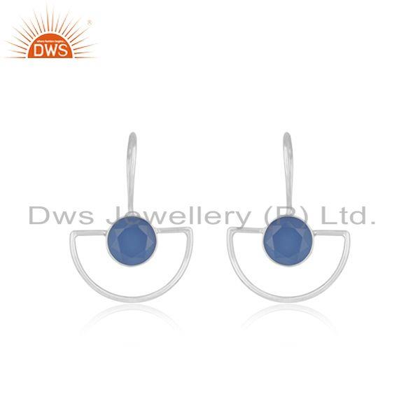 Blue Chalcedony Gemstone Fine Sterling Silver Earrings Supplier
