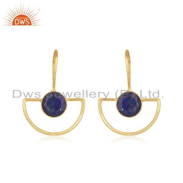 Lapis Lazuli Gemstone Sterling Silver Gold Plated Earring Manufacturer India