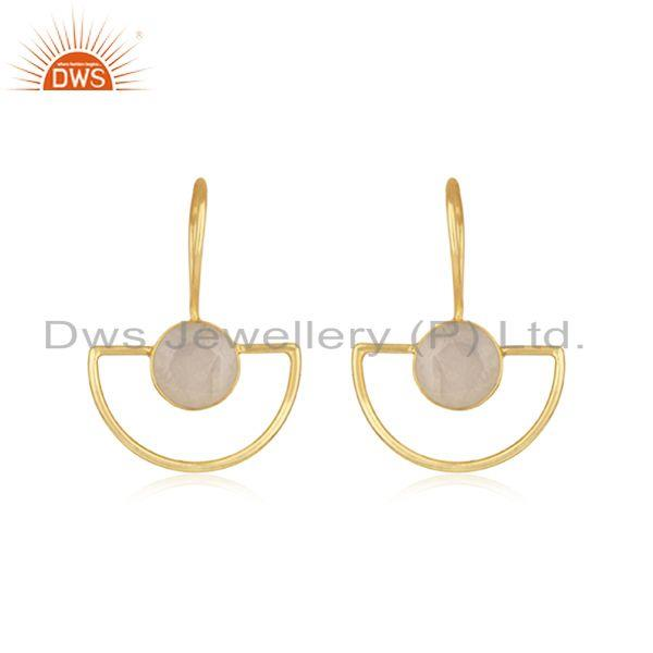 Rainbow Moonstone Sterling Silver Gold Plated Earring Wholesale Supplier