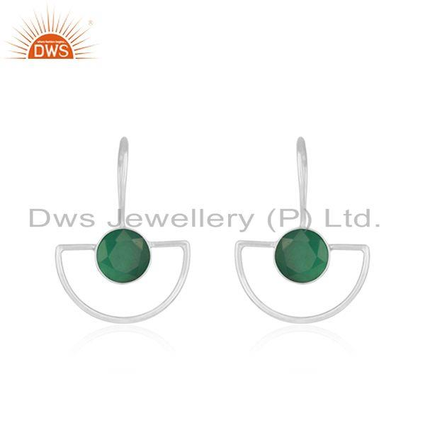 Green Onyx Gemstone Handmade 925 Silver Designer Earrings For Girls Jewelry