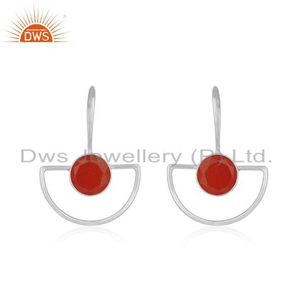 Red Onyx Gemstone 925 Sterling Silver Designer Earring For Womens Jewelry