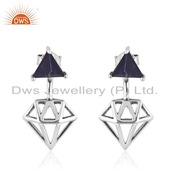 925 Silver Oxidized Diamond Shape Lapis Gemstone Earrings Jewelry