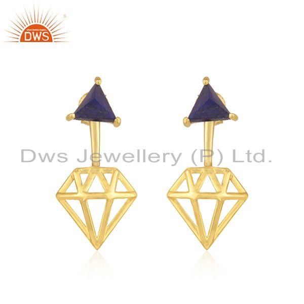 Diamond Shape Gold Plated 925 Silver Lapis Gemstone Stud Earring Manufacturer