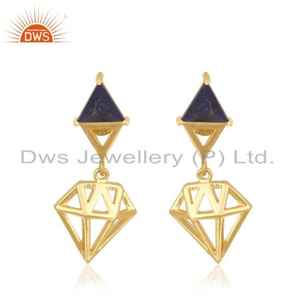 Diamond Shape Lapis Lazuli Gemstone Gold Plated 925 Silver Drop Earring Supplier