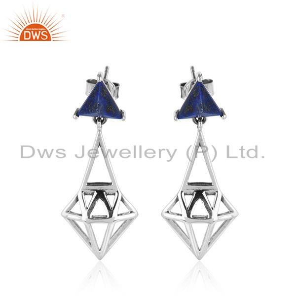Oxidized Silver Diamond Shape Natural Lapis Gemstone Earrings Jewelry