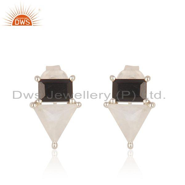 Natural Multi Gemstone Fine 925 Sterling Silver Stud Earring Wholesale