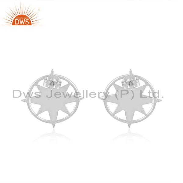 925 Sterling Silver Designer Compass Stud Earrings For Girls Jewellery
