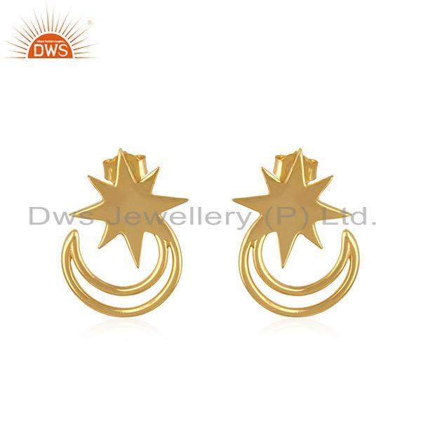 Star and Moon Yellow Gold Plated 925 Silver Religious Stud Earring Wholesale