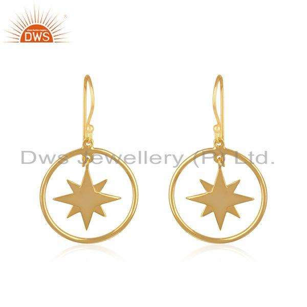 Yellow Gold Plated Sterling Silver Designer Compass Earring Manufacturer