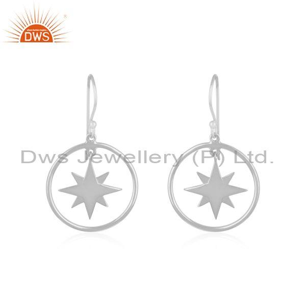 Fine sterling silver designer compass earring manufacturer of jewelry