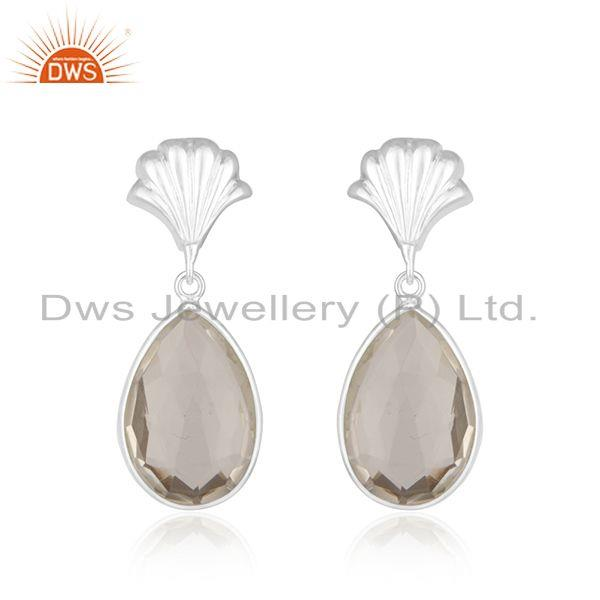 Crystal Quartz Sterling FIne Silver Designer Drop Earring Jewelry Manufacturer