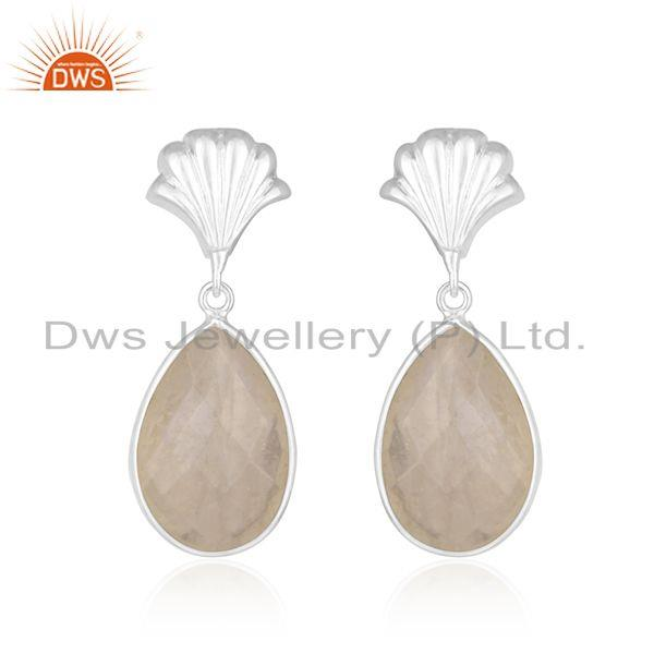 Rainbow Moonstone Designer Sterling Silver Earring Manufacturer India