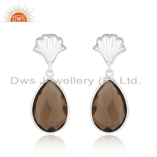 Smoky Quartz Fine Sterling Silver Drop Earring Manufacturer of Indian Jewellery