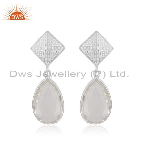 Crystal Quartz Gemstone Fine Sterling Silver Drop Earring Manufacturer India