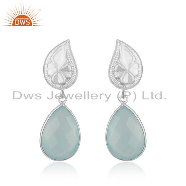 Floral Design Sterling Fine Silver Chalcedony Aqua Gemstone Earring Wholesale
