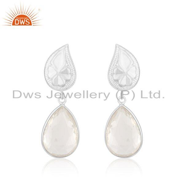 Floral Design Sterling Silver Crystal Quartz Earring Manufacturer of Jewelry