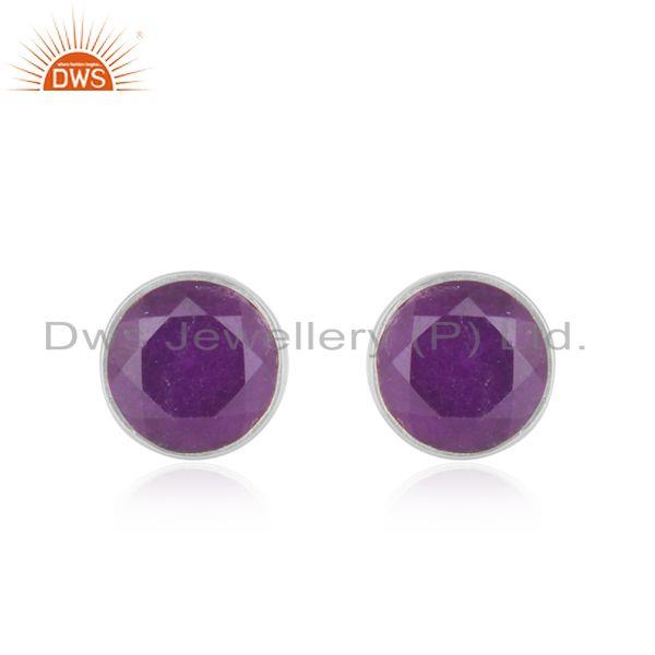 Handmade Fine Sterling Silver Round Purple Gemstone Stud Earrings