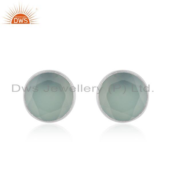 Fine Sterling Silver Aqua Chalcedony Gemstone Stud Earrings Wholesale