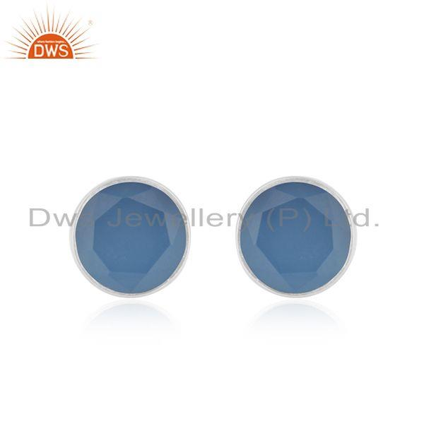 Simple Round Design Blue Chalcedony Fine Sterling Silver Stud Earrings
