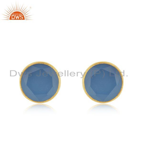 Simple Round Design Chalcedony Gold Plated 925 Silver Stud Earrings
