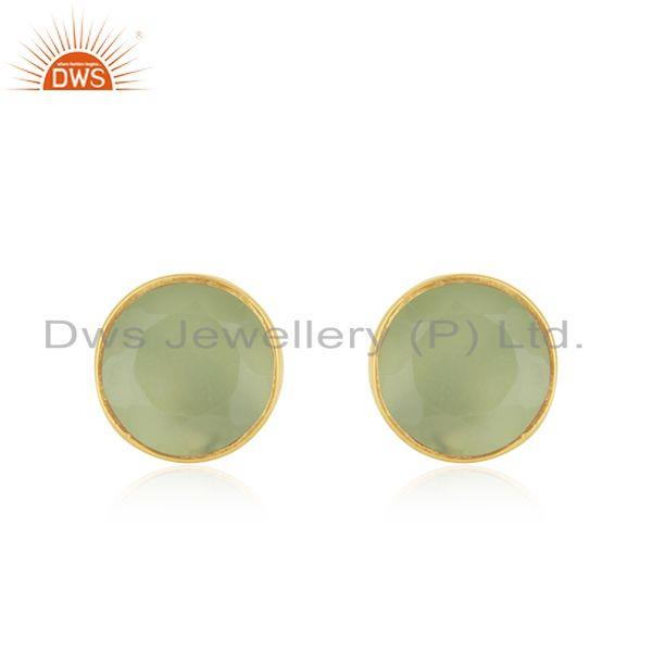 Prehnite Chalcedony Gemstone Gold Plated 925 Silver Round Stud Earring