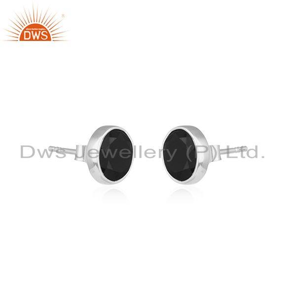 Round Fine Sterling Silver Black Onyx Stud Earring Manufacturer