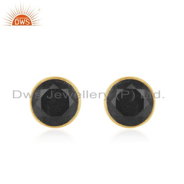 Black Onyx Gemstone Gold Plated Sterling Silver Round Stud Earrings
