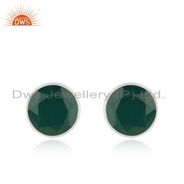 Green Onyx Gemstone Sterling Silver Stud Earrings Supplier