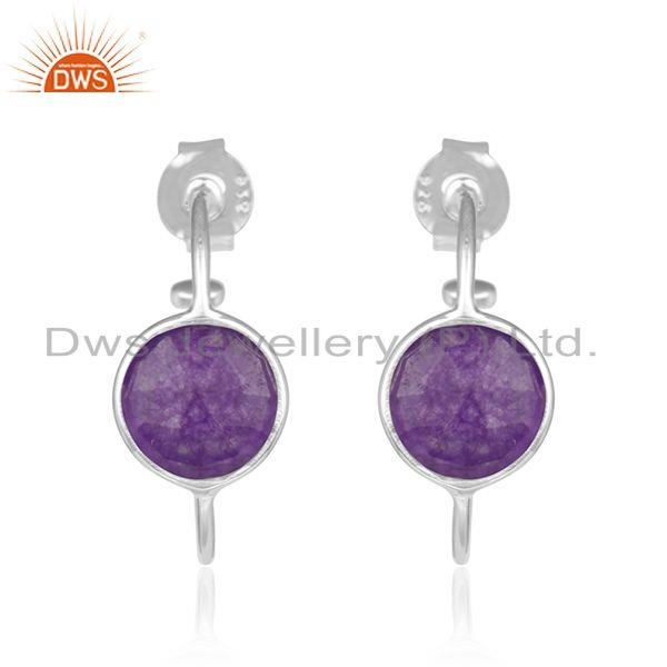Handmade Fine 925 Sterling Silver Aventurin Gemstone Hoop Earrings