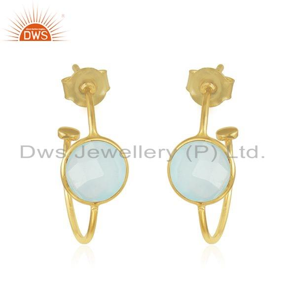 Gold Plated Silver Aqua Chalcedony Gemstone Hoop Earrings Jewelry
