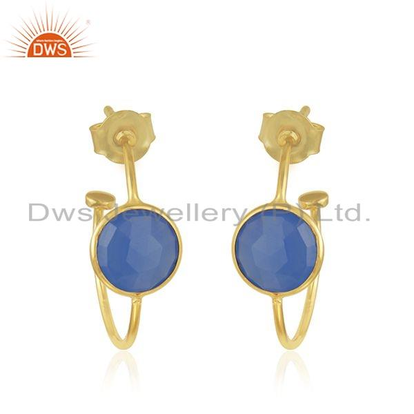 Blue Chalcedony Gemstone 18k Gold Plated Silver Hoop Earrings Jewelry