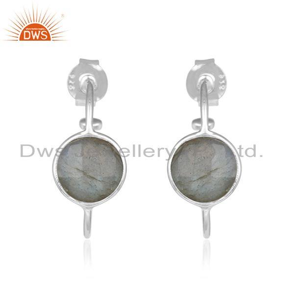 Natural Labradorite Gemstone Fine Sterling Silver Hoop Girls Earrings
