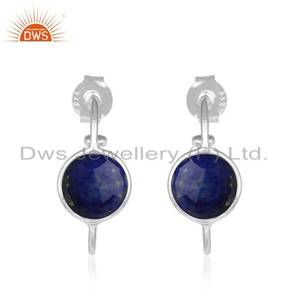 Handmade Sterling Fine Silver Lapis Lazuli Gemstone Hoop Earrings
