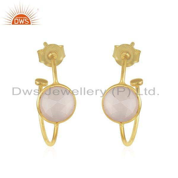 Rose Chalcedony Gemstone Gold Plated Silver Hoop Earrings Jewelry