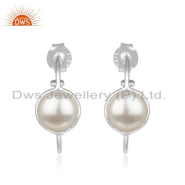 Natural Pearl Gemstone Fine Sterling Silver Hoop Earrings Wholesaler