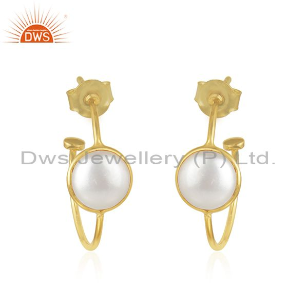 Pearl Gemstone 18k Gold Plated 925 Silver Hoop Earrings Jewelry