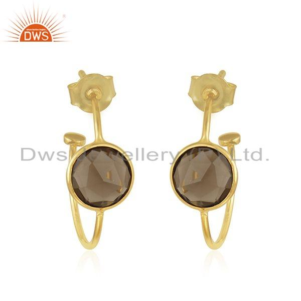 Handmade Smoky Quartz Gemstone Gold Plated Silver Hoop Earring Jewelry