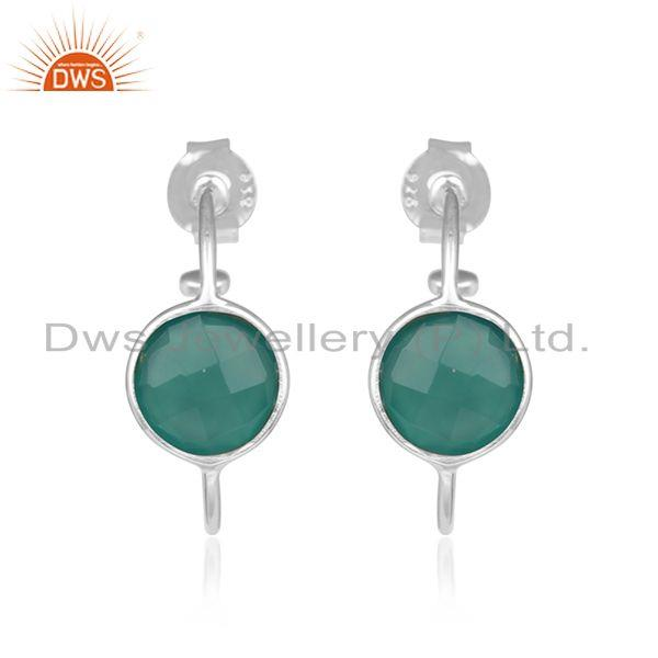 Green Onyx Gemstone Fine Sterling Silver Handmade Girls Hoop Earrings