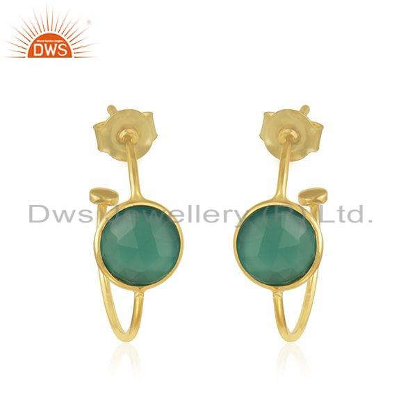 Handmade Gold Plated Silver Green Onyx Gemstone Hoop Earrings Jewelry