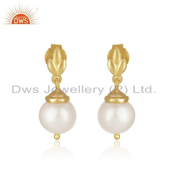 Natural Pearl Yellow Gold Plated Sterling Silver Designer Earrings