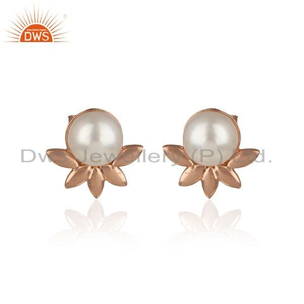 Designer leaf earring in rose gold on silver with exquisite pearl